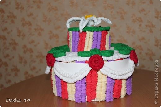 Ну вот он мой тортик! Тортик выполняла по этому мастер классу  http://stranamasterov.ru/node/31491?tid=451.  фото 1