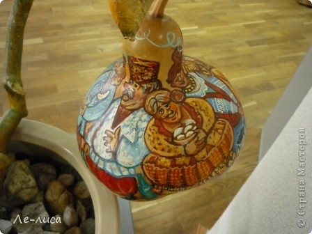 Декоративные бутылочные тыквы просто находка для прикладников. Расскажу, как делала это панно. фото 15