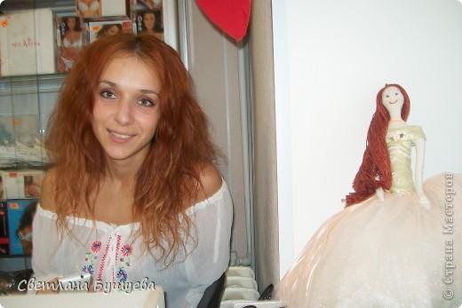 Кукла невеста. Родилась как украшение в свадебный салон. Первая кукла с использованием волос женского парика фото 7