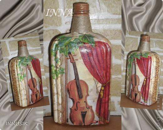 """Бутылочка """"Олива"""". Бутылка, мотивы 2-х салфеток, клей ПВА, грунт (акриловая интерьерная краска), акриловые краски для подрисовки, лак акриловый и паркетный алкидный. Бутылочку можно использовать по назначению))) фото 5"""