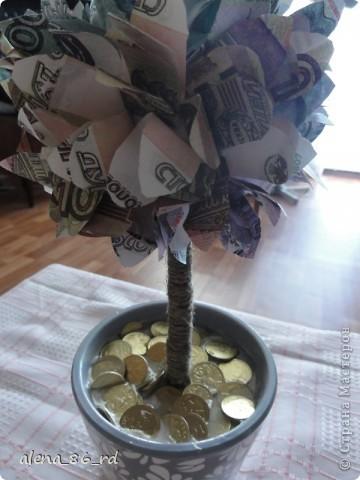 Вот оно какое денежное дерево, сделала подружке в подарок на День Рождения! Что бы сделать такое же, вам понадобится: - сувенирные банкноты, у кого есть возможность, можно взять и настоящие :) - газета - любая палочка (для ствола) - шпагат - кашпо - алебастр - супер клей, или жидкие гвозди - монетки (в моем случае это настоящие 1, 5 и 10 копеек)  фото 13