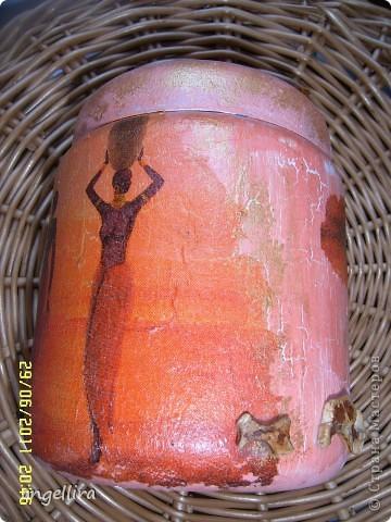 Лежала обычная баночка из под какого то крема и салфеточка в африканском стиле, которую давно хотелось куда то применить, а что из этого вышло-судить вам :) фото 2
