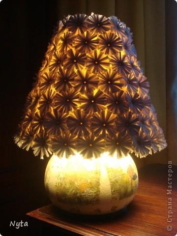 Наконец-то я ее доделала! урррррааааа ))))) Когда-то лампа была синяя-синяя...... фото 4