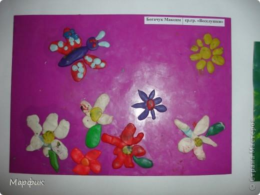 """Вот такие замечательные пластилиновые картины про лето создают мои ребятишки на кружке """"Пластилиновая живопись"""".  фото 2"""