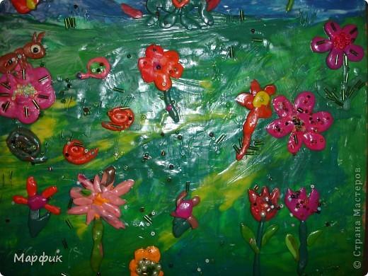 """Вот такие замечательные пластилиновые картины про лето создают мои ребятишки на кружке """"Пластилиновая живопись"""".  фото 6"""