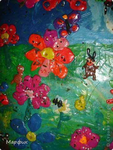"""Вот такие замечательные пластилиновые картины про лето создают мои ребятишки на кружке """"Пластилиновая живопись"""".  фото 7"""
