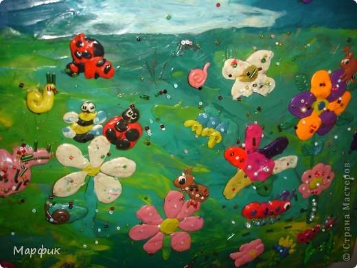 """Вот такие замечательные пластилиновые картины про лето создают мои ребятишки на кружке """"Пластилиновая живопись"""".  фото 5"""