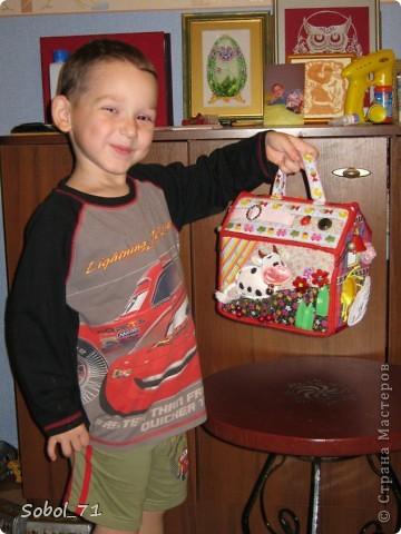 Вот, только закончила на подарок к первому дню рождения девочки, еще не подарила.  Такая сумочка- кукольный домик Форма-идея из интернета, содержание - полет фантазии. фото 5
