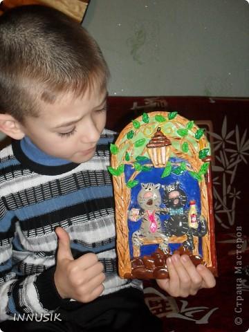 """Наше первое """"соленое"""" панно, """"В гостях у КУЗИ""""...делали с сыном на школьную выставку поделок))) Идею домика """"сперла"""" с инета, точно не помню от куда...но Кузя полностью мое творение)) фото 9"""