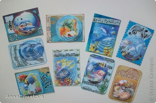 """Теперь я знаю, как это делается!  Новая серия 3D """"Музака океана"""". Делать не сложно, но результат впечатляет. Картинки распечатала на глянцевой бумаге и вырезала сама. Ну и декор у каждой карточки соответствующий :) Первыми выбирают девочки, которым я должна - Kotofeya, bagira1965, Ксюша-токалка, Даренка.   фото 1"""