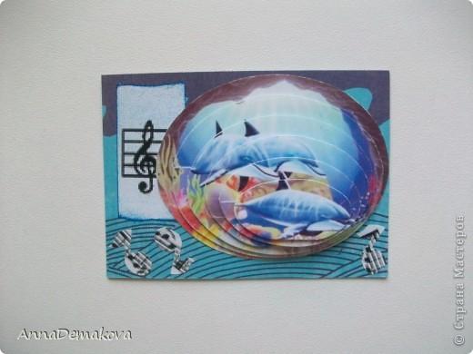 """Теперь я знаю, как это делается!  Новая серия 3D """"Музака океана"""". Делать не сложно, но результат впечатляет. Картинки распечатала на глянцевой бумаге и вырезала сама. Ну и декор у каждой карточки соответствующий :) Первыми выбирают девочки, которым я должна - Kotofeya, bagira1965, Ксюша-токалка, Даренка.   фото 2"""