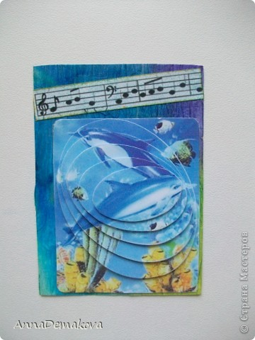 """Теперь я знаю, как это делается!  Новая серия 3D """"Музака океана"""". Делать не сложно, но результат впечатляет. Картинки распечатала на глянцевой бумаге и вырезала сама. Ну и декор у каждой карточки соответствующий :) Первыми выбирают девочки, которым я должна - Kotofeya, bagira1965, Ксюша-токалка, Даренка.   фото 4"""