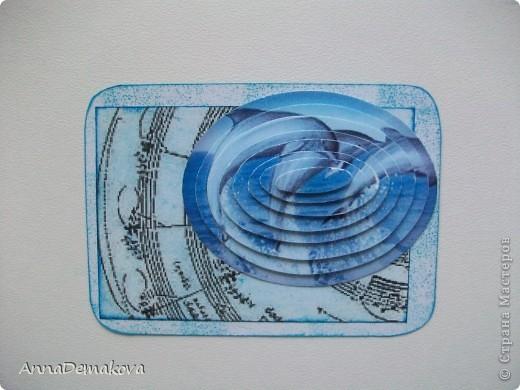 """Теперь я знаю, как это делается!  Новая серия 3D """"Музака океана"""". Делать не сложно, но результат впечатляет. Картинки распечатала на глянцевой бумаге и вырезала сама. Ну и декор у каждой карточки соответствующий :) Первыми выбирают девочки, которым я должна - Kotofeya, bagira1965, Ксюша-токалка, Даренка.   фото 5"""