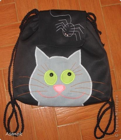 Вот такой прикольный рюкзак у меня заказала девочка. Ткань на самом деле темно-синяя, но на фотках выходит черной. фото 1