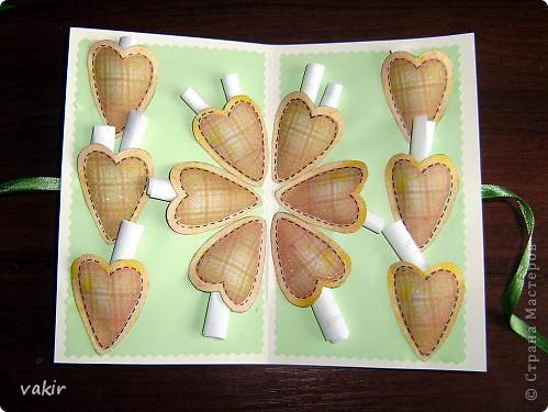 Сегодня эта открыточка была подарена молодой семье, отмечающей ситцевую свадьбу - первую годовщину создания семьи. Хотелось сделать что-то интересное. фото 5