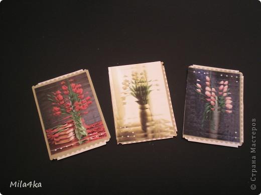 Начала делать новую серию АТСок.. И тут у одной из мастериц (Гимназистко) появилась замечательная серия с цветами и натолкнула меня на воспоминания.. Как я в детстве делала панно из открыток.. Вот я вдохновившись и решила, что отложу пока ту серию и создам - серию панно - с моими любимыми тюльпанами.. Спасибо,  Гимназистко за вдохновение - и надеюсь, что моя серия не является плагиатом :).. И, если вам понравится - буду очень рада..  Первое право выбора у моих кредиторов.  А теперь поближе.. фото 2