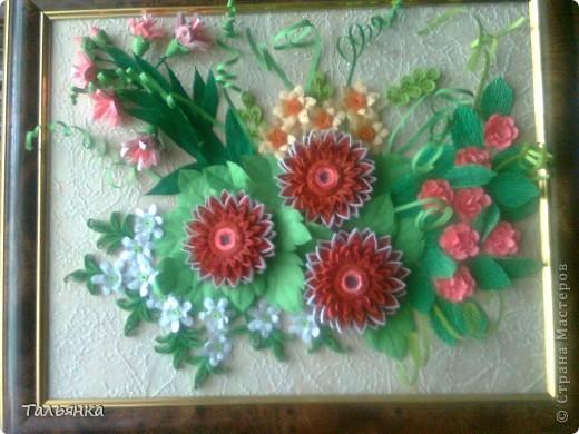Всем здравствуйте! Я  сегодня с заказной композицией, а то всё подарки. Просили яркие цветы и я сразу решила, что буду делать герберы Ларисы Засадной, за них ей ОГРОМНОЕ СПАСИБО! И к ним, опять же благодарность Ларисе, колокольчики. Ну и маленькое цветочное сопровождение. Напишите, дорогие мастерицы, что вы думаете о композиционном решении, что бы можно было исправить? фото 1