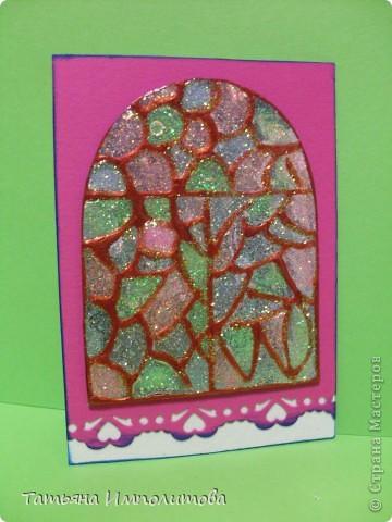 """Окна нарисованы неоновыми витражными красками и """"прилипли"""" к голографическому картону фото 5"""