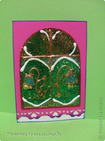 """Окна нарисованы неоновыми витражными красками и """"прилипли"""" к голографическому картону фото 6"""
