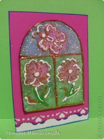 """Окна нарисованы неоновыми витражными красками и """"прилипли"""" к голографическому картону фото 8"""