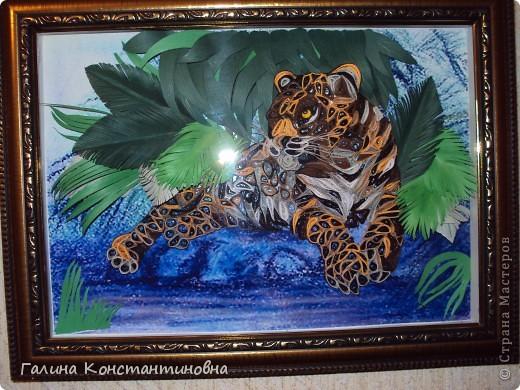 """Добрый день.  Увидев  у Saphir  картину """"Леопард"""" мне очень захотелось ее повторить, уж очень она мне приглянулась.  Благодаря ее подробному  МК и родился   этот красавец."""