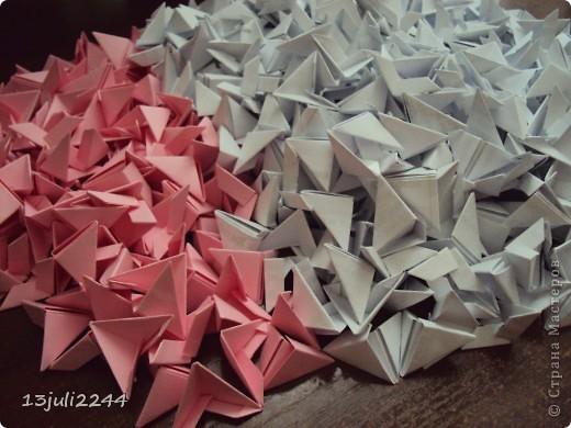 Мастер-класс Поделка изделие День рождения Оригами китайское модульное МК КОШЕЧКА Бумага Клей фото 2