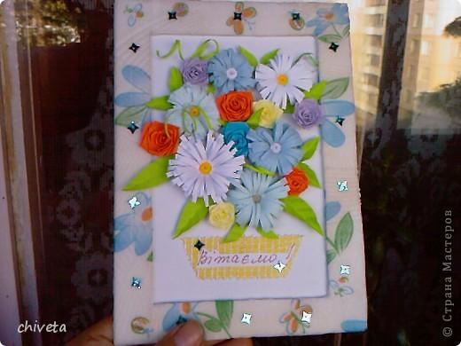 Панно с цветами и пара открыток фото 4