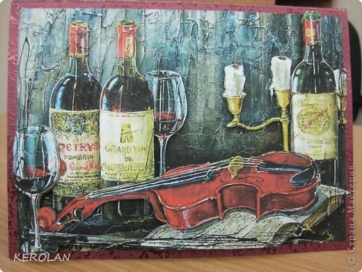 Здравствуйте, мастерицы! Я с новыми открытками.  Это моя любимая открытка. Картинку нашла в интернете, распечатала 4 раза, проклеила ещё раз на принтерную бумагу для плотности, потом вырезала мотивы по убывающей. фото 1
