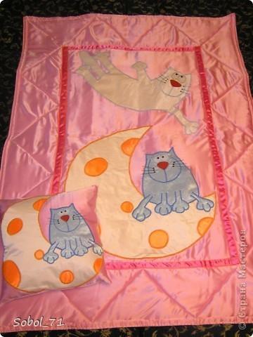 Легкое одеяло + маленькая  подушка. Делалось на подарок к новому году маленькой девочке.  Когда-то давно скачанные понравившиеся картинки котиков  долго ждали своего часа.