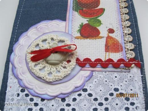 вот такие блокнотики декупаж на канве, вязание крючком, кружева, тесьма и декоративные пуговицы и хорошее настроение фото 4