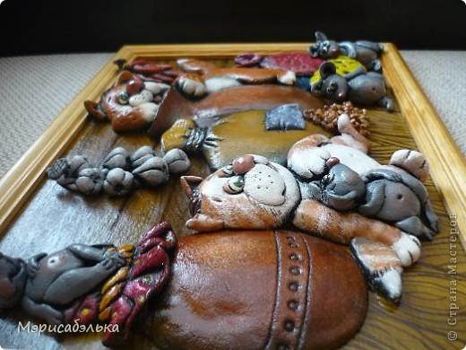 Вот такое получилось мышино-кошачье счастье по мотивам М .Федотовой.Размер 21 на30. фото 5