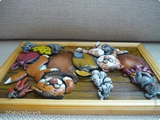Вот такое получилось мышино-кошачье счастье по мотивам М .Федотовой.Размер 21 на30. фото 7