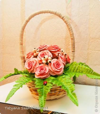 Мне пнравилась идея сочитать розы и папоротник. Вот что у меня получилось фото 2