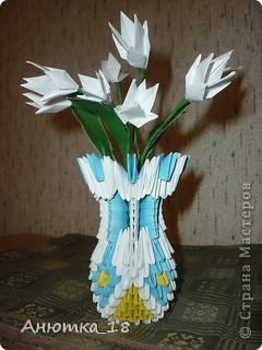"""Это моя первая работа в технике """"модульное оригами"""". Подарила маме на 8 марта - она была в восторге! фото 1"""