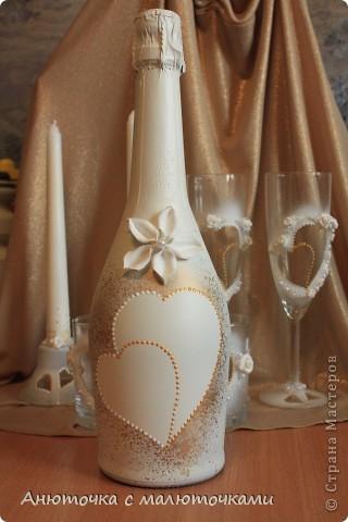 Здравствуйте! Нужен коллективный разум :) Делаю наборчик сестре на свадьбу. В перспективе обещают быть бутылки, бокалы, стаканчики и свечки (сундучок, подушечка для колец и корзинки для лепестков не в счёт) фото 6