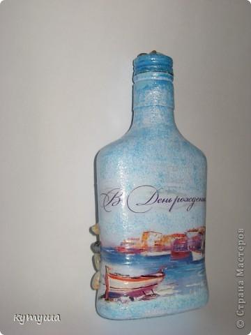 Бутылочка морская-подарочная- открытка, акрил, ракушки, камешки, лак фото 1