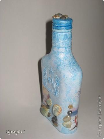 Бутылочка морская-подарочная- открытка, акрил, ракушки, камешки, лак фото 2