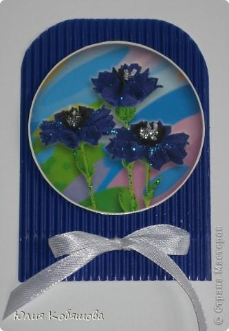 Новая серия карточек АТС. В основе гофрированный картон, картинки  с цветами приклеены на объемный скотч, украшены ленточками и гелем с блестками. фото 5