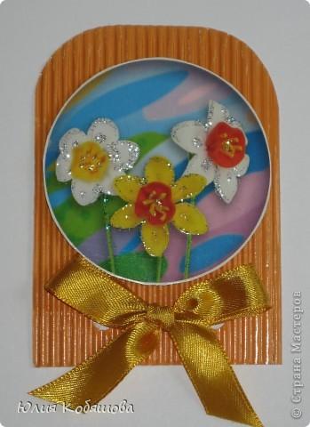 Новая серия карточек АТС. В основе гофрированный картон, картинки  с цветами приклеены на объемный скотч, украшены ленточками и гелем с блестками. фото 8