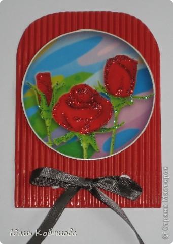 Новая серия карточек АТС. В основе гофрированный картон, картинки  с цветами приклеены на объемный скотч, украшены ленточками и гелем с блестками. фото 9