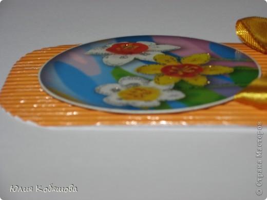 Новая серия карточек АТС. В основе гофрированный картон, картинки  с цветами приклеены на объемный скотч, украшены ленточками и гелем с блестками. фото 10