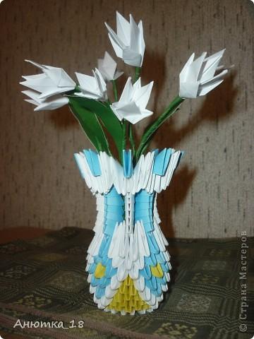 """Это моя первая работа в технике """"модульное оригами"""". Подарила маме на 8 марта - она была в восторге! фото 2"""