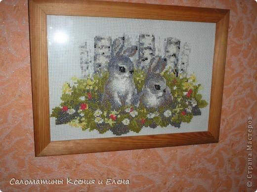 Зайцы в березовой роще. размер 40*30 см фото 1