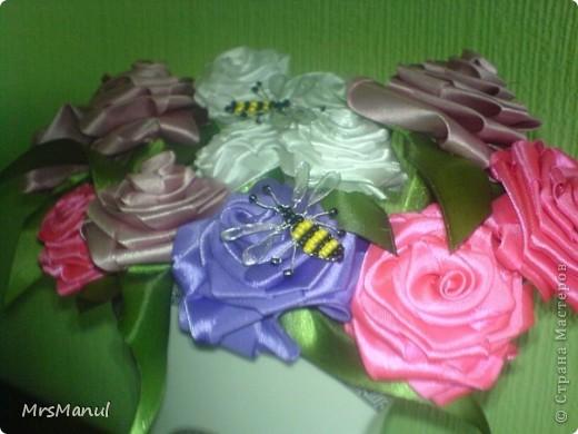 Это мои букетики из сатиновых лент фото 5
