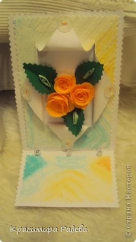 Добър  вечер на всички ! Ето какво сътворих днес- пано и картичка с рози. фото 5