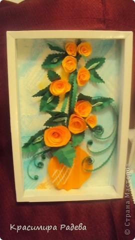 Добър  вечер на всички ! Ето какво сътворих днес- пано и картичка с рози. фото 3