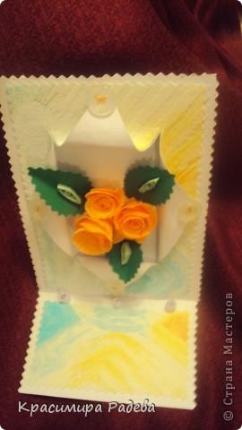 Добър  вечер на всички ! Ето какво сътворих днес- пано и картичка с рози. фото 7