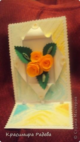 Добър  вечер на всички ! Ето какво сътворих днес- пано и картичка с рози. фото 6