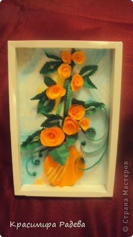 Добър  вечер на всички ! Ето какво сътворих днес- пано и картичка с рози. фото 2