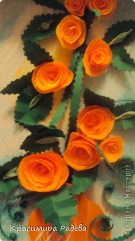 Добър  вечер на всички ! Ето какво сътворих днес- пано и картичка с рози. фото 4